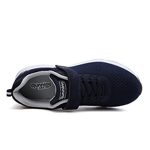 Scarpe Da Corsa Unisex Super Lee Scarpe Sportive Con Velcro Scarpe Da Ginnastica Outdoor Scarpe Da Uomo Leggere E Traspiranti Per Uomo Donna 36-44 Blu