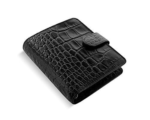 Filofax Classic Croc Pocket Ebony Schwarz Organiser 19mm Kalbleder A7 Kalender 026074
