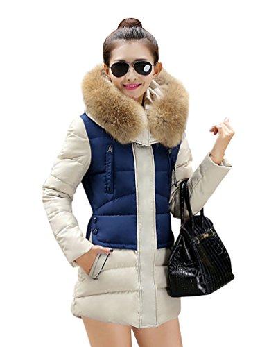 YouPue Cappuccio Piumino da Donna Con Collo Di Pelliccia Lungo Giubbino Imbottito Giacca Parka Spessore Caldo Inverno Blu