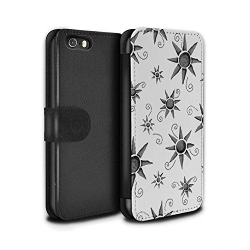 Stuff4 Coque/Etui/Housse Cuir PU Case/Cover pour Apple iPhone SE / Pack (14 pcs) Design / Motif Soleil Collection Noir/Blanc