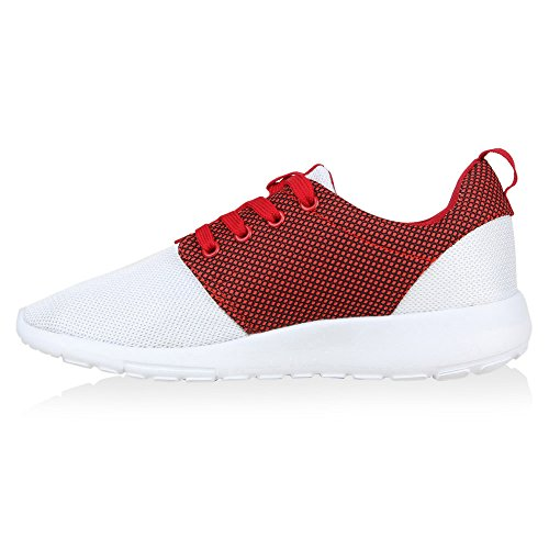 Stiefelparadies Damen Sportschuhe Muster Laufschuhe Runners Sneakers Schuhe Strass Metallic Flandell Weiss Rot