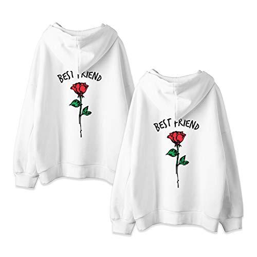 JWBBU Friends Kapuzenpullover für Zwei Damen Pullover Freunde Sweatshirts Partner Look Damen Sister Sweatshirts Rose Pulli Freundin Hoodie mit Kapuze BFF Gsgeschenk 2 stücke(Weiß,Friend-XS+XS)