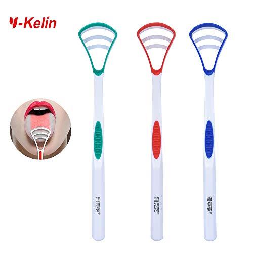Y-Kelin - Cepillo para lengua limpiador de lengua (Paquete de 3 colores)