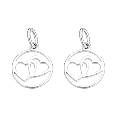 5PCS 925 Sterling Silver Double Heart Round Charm for Jewelry Making Finding 13mmx11mm