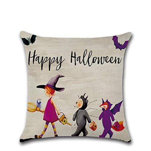 Goodtrade8 Halloween-Kissenbezüge, Halloween-Dekoration, niedlicher Kürbis-Dekoration, Vintage, Baumwollleinen, Kissenbezug 43 x 43 cm, Sonstige, Multicolor B, S Size