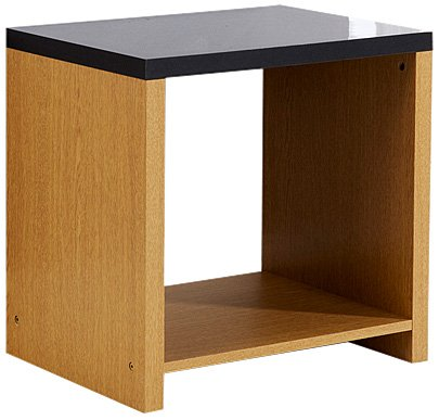 Mountrose  Prague Oak End Table, Black High Gloss