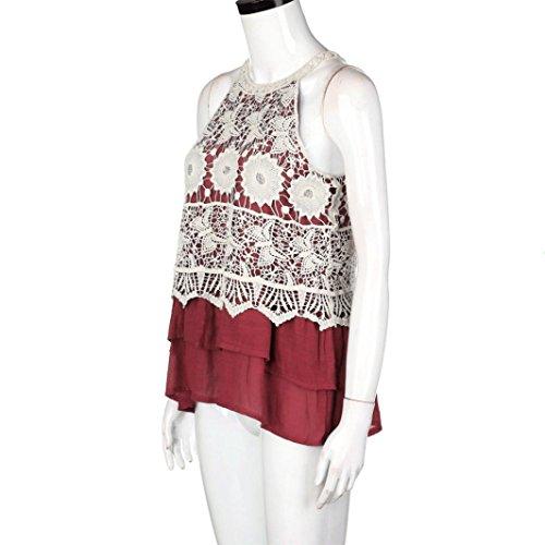 Bekleidung Longra Damen Weste Sommer lässig Ohne Arm Tank Crop Tops Weste Bluse T-Shirt Red