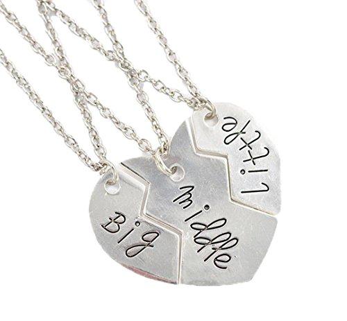 Fengteng BIG MIDDLE LITTLE Groß Mitte Wenig Startseite Schmuck Mond Drei Stücke Pfirsich Herzförmige Anhänger Halskette