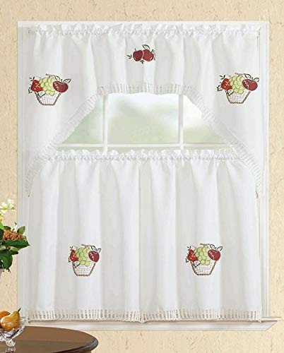 All American Collection modernes 3-teiliges Spring Flowers Küche Vorhang Set mit Swag Querbehang, Polyester-Mischgewebe, WHITE FRUIT BASKET, 60
