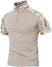 MAGCOMSEN Outdoor Tactical Military Slim Fit T Shirt Short Sleeve with Zipper