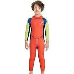 Combinaison de Plongée Garçon Enfant Anti UV UPF50+ Néoprène 2.5MM Manches Longues pour Activités Aquatiques Age 5-6 ans Orange