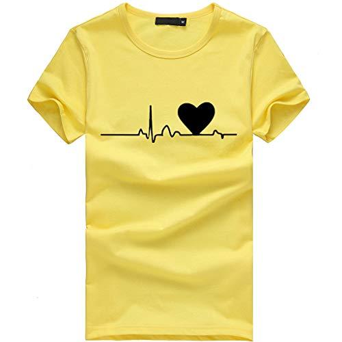 ღMeilleure Vente LuckyGirls Mode Coeur Manches Courtes Loose Femmes T-Shirt imprimé décontracté O-Neck Top(B Blanc,X-Large)