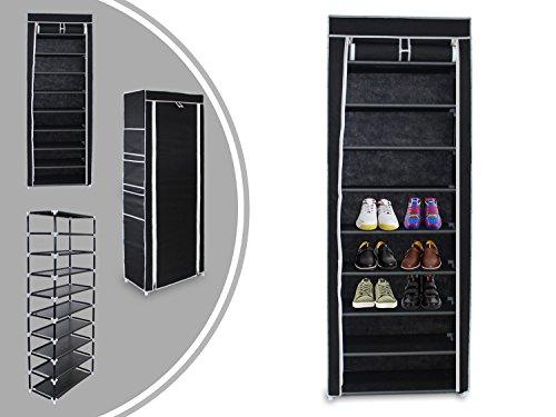 Leogreen, armadio con ripiani per scarpe, 10 piani con coperchio e zip, 6 tasche laterali, nero,160 x 58 x 28 cm