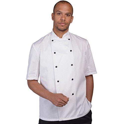 Auswechselbare Grill (CUSTOM-FUNKY Denny 's Lightweight Weiß Chef Jacke Kurze Ärmel Mit Auswechselbaren Stollen (dd20s) Gr. XS, weiß)