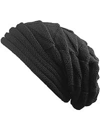 Outflower Chapeau Tricoté en Plein air Chapeau Tricoté Chaud Bonnet unisexe-Adulte Bonnet Tricoté Hiver Bonnet d'oreille en Tricot Chaud d'hiver Protège les Oreilles(Noir)