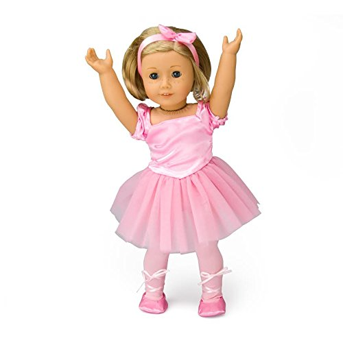 Doll Clothes for American Girl Dolls: 4 Piece Ballet Outfit for Isabelle - Includes Ballerina Slippers, Leotard, Tutu, and Hair Bow