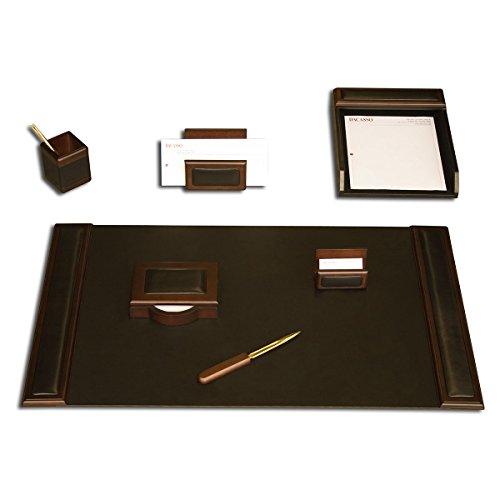 Dacasso Schreibtisch-Set, Walnuss und Schwarz Leder, 7-teilig (Florida-schreibtisch-kalender)