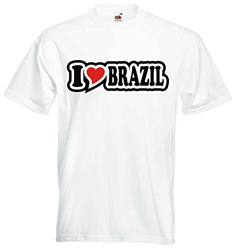 T-Shirt I Love Heart Herren I LOVE BRAZIL Weiß