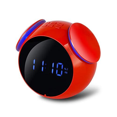 Wealth Bluetooth-Radiowecker mit Stereo-Lautsprecher, UKW-Radio, FT-Karte, Doppelalarm, Schlummerfunktion, USB-Aufladung, AUX-Eingang, weiße LED-Anzeige,Red - Ihome-radiowecker