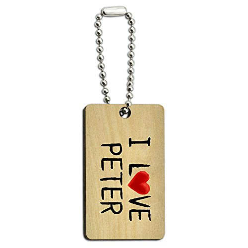 I Love Peter Written on Paper Wood Wooden Rectangle Key Chain