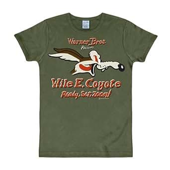 Looney Tunes Wille E. Coyote Kojote Marken T-Shirt großer Cartoon Frontprint olivgrün - S