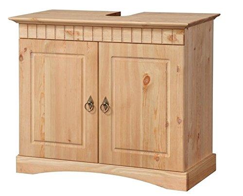 clever-moebel Meuble de Salle de Bain avec lavabo en pin Jaune/huilé