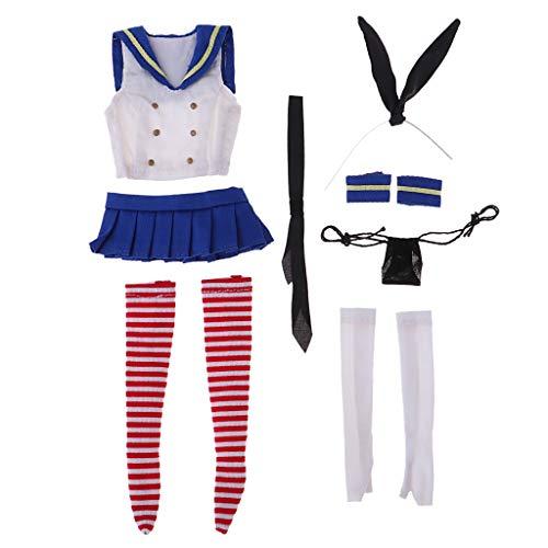 Homyl 1/6 costume da marinaio femminile con coniglietto accessori da figura da 12 pollici
