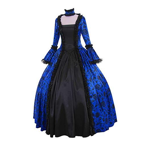 Prinzessin Türkische Kostüm - Binggong Spitzenkleid Damen Mittelalterliche Kleid mit Trompetenärmel Vintage Kleid Lace up Ballkleid Gothic Prinzessin Renaissance Party Kostüm Maxikleid