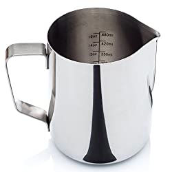 Cafe Luxe Professional Milk Frothing Pitcher For Lattes, Cappuccino & Coffee -- with Volume Markings