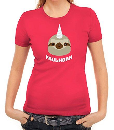 Einhorn Faultier Damen T-Shirt mit Faulhorn Motiv von ShirtStreet Pink