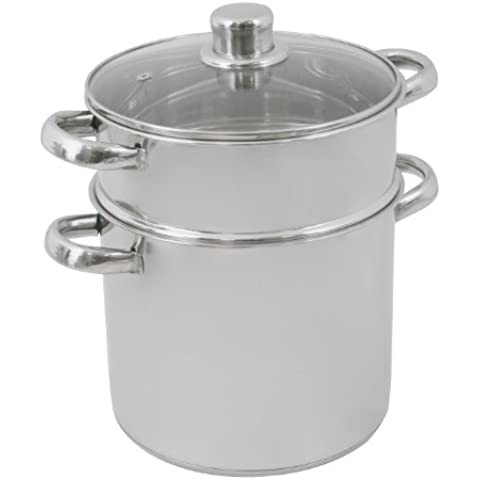 Crealys 502471 - Pentola per cous cous in acciaio inox, 6 L, con coperchio in vetro, ø20 cm