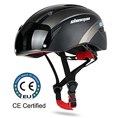 Cycle Helmet,CE Certified,Bike Helmet with Detachable Magnetic Goggles Visor Shield for Men Women Mountain & Road Bicycle Helmet Adjustable Adult Safety Protection from Shinmax