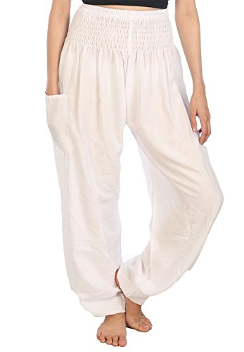 Lofbaz Damen Haremshose mit gesmoktem Bund einfarbig Weiß 2XL