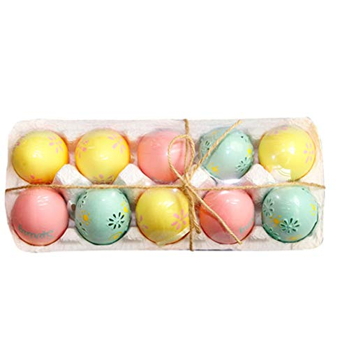 Uova di pasqua decorate,appendere le uova di plastica 10 pezzi colorata uova artistiche di pasqua onnella scatola di immagazzinaggio il nastro per bambini dono giocattolo pasqua festa decorazione