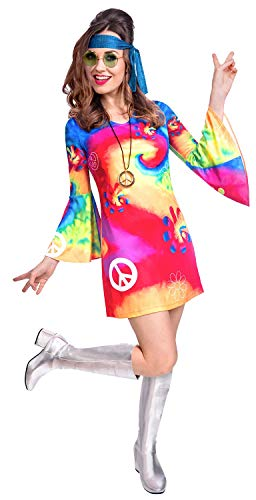 Ladies Bright and Colourful Tie Dye Hippy Dresss Outfit. 4 Sizes from 8 to 18
