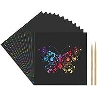 Kesoto 100 Hojas Papel de Rascar + 2 Plumas de Bambú Tablero de Dibujo de Rascar de Arco Iris Papel de Scratch Hojas Desmontables para Notas, Dibujos, Juegos, 8 X 8CM