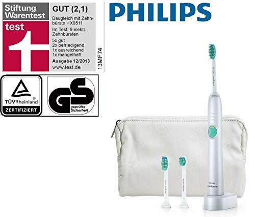 Philips Sonicare EASY-CLEAN Elektrische Zahnbürste - TESTSIEGER GUT NOTE 2,1 - inkl. 3 BÜRSTEN + REISEETUI im Wert von 20 €, AKKU Schall-Zahnbürste mit 62000 U/Min, Zahn-Bürste KINDER geeignet
