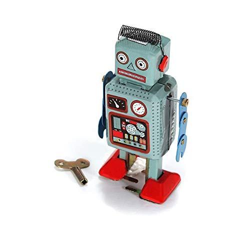 NiceButy kreative lustige Retro mechanische Roboter Spielzeug Uhrwerk Wind Spielzeug Fuß Radar Roboter Blechspielzeug mit Schlüssel blau -