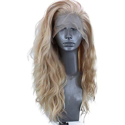 Fluffy wellige Perücken der Frauen, Karruier wie menschliches Haar synthetische Lace Front Perücke lange Perücken, Gold, 24 Zoll