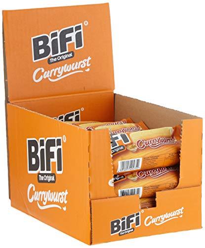 BiFi Currywurst - Herzhafter Salami Fleischsnack mit Currysauce - Pikant gewürzte Wurst im Weizenbrötchen als Snack to go - 20er Pack (20 x 50 g)