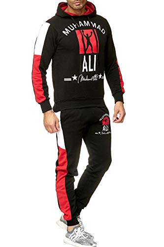 Herren Trainingsanzug Muhammad ALI Champion Sportanzug Jogginganzug Schwarz Grau Weiss (Schwarz, M - Slim fit) -