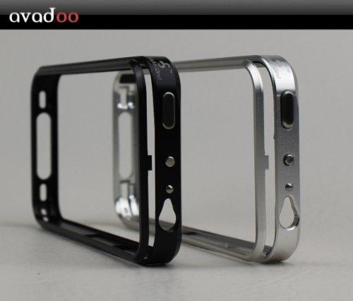 Avadoo® iPhone 4/4S Aluminium Schuz Case Bumper für iPhone 4 und 4 S mit SNAP ON Verschluss - Avadoo Series Edel Luxus Klippverschluss Aluminium Silber Metal Bumper Case Silber für 4G und 4S Vapor 4 Bumper Case