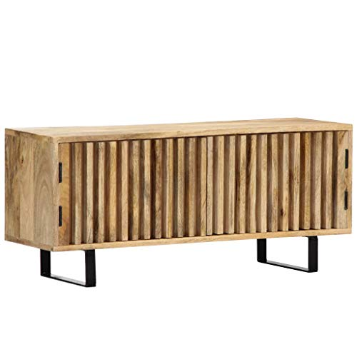 vidaXL Mangoholz Massiv TV Schrank mit 2 Türen TV Board Möbel Lowboard Fernsehschrank Fernsehtisch Sideboard HiFi Fernseher Schrank 90x30x40cm Eisen -