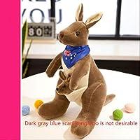Cute Australian Kangaroo Plush Toy Doll Doll Baby Mother Child Gift Kangaroo No.3: 38Cm High Dark Brown Blue Scarf (Small Kangaroo Not Desirable)