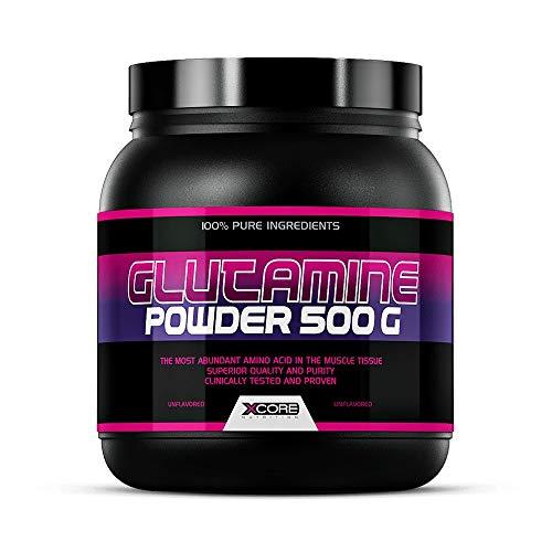 Xcore Glutamine en Poudre 500 g Nature Complément au Goût Naturel - Stimule la Récupération Musculaire et Renforce le Système Immunitaire