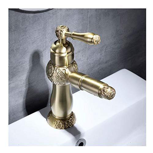 Tan Badezimmer-Hahn-Geschnitzte Pull Warme und Kalte Wasser-Hahn-Messingmultifunktionstischarmaturen,lowsection -