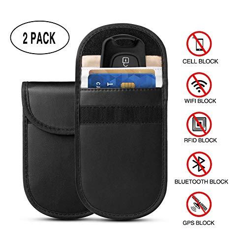 QLP-Z Keyless Go Schutz Autoschlüssel, Auto Signal Keyless Schlüsseletui Funkschlüssel Abschirmung, RFID Key Safe Strahlenschutz Tasche (2 Stück) -