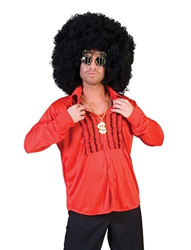erdbeerclown - Herren Männer Kostüm Saturday Night Fever Hemd im Disco-Style 80er Disko-Shirt, perfekt für Halloween Karneval und Fasching, M, Rot (Night Saturday Fever-shirt)