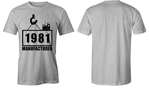 Manufactured 1981 - Rundhals-T-Shirt Männer-Herren - hochwertig bedruckt mit lustigem Spruch - Die perfekte Geschenk-Idee (05) grau-meliert