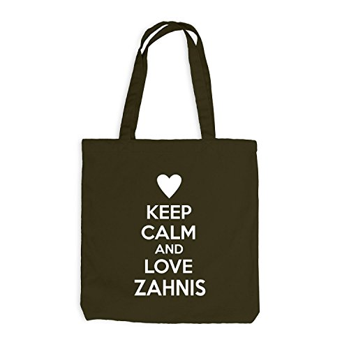 Jutebeutel - Keep Calm And Love Zahnis - Zahnarzt Design Heart Olive